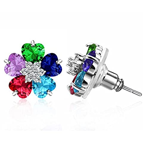 Murtoo Colourful Crystal Plum Flower Earrings?Decorated with Swarovski Crystals -Multicolor