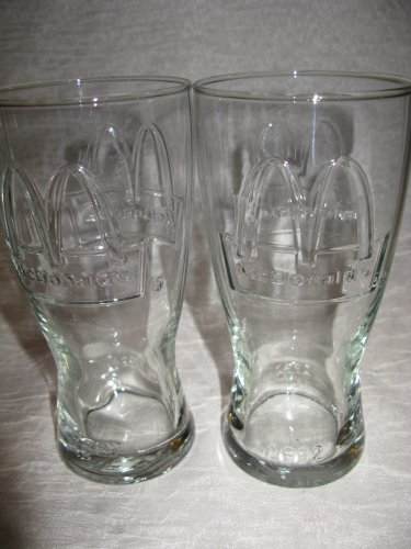 Set von 2Vintage Retro Restaurant Stil geprägt 1992Sammlerstück McDonald 's Trinken Gläser -