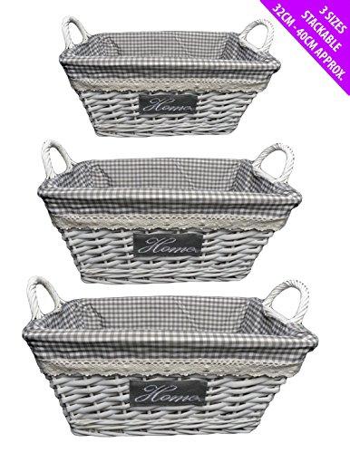 Lot de 3 traditionnel doublé Panier en osier avec poignées Panier pique-nique empilable, gris, Oblong