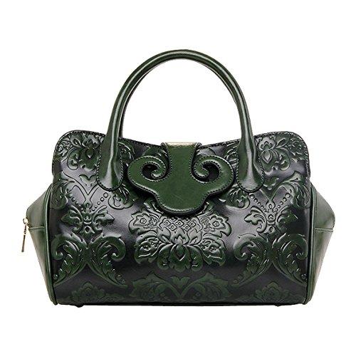 Jieway, borsetta a mano da donna, goffrata, stile classico, in poliuretano, stile cinese verde