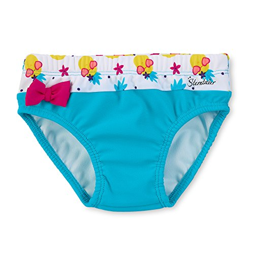 Sterntaler Kinder Mädchen Badehose mit Windeleinsatz, UV-Schutz 50+, Alter: 6-12 Monate, Größe: 74/80, Türkis/Weiß