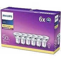 Philips GU10 LED - Bombillas Cristal, 4.6 W Equivalentes a 50 W en Incandescencia, 355 Lúmenes, Luz Blanca Cálida, pack de 6