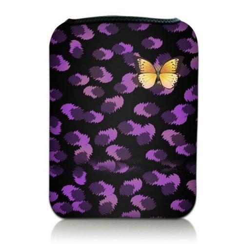 Luxburg® Design Tasche Hülle Sleeve Etui für eBook Reader und Tablet PC bis 7 Zoll, Motiv: Schmetterling auf lila Blüten
