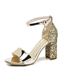 HN Shoes Donna A Blocco Tacchi Alti Cinturino Alla Caviglia Oro Nozze  d Argento Sera b2bbe11a323
