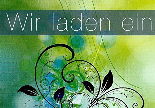 Einladungskarten mit Innentext Motiv Grün Wir laden ein 10 Klappkarten DIN A6 mit weißen Umschlägen im Set Einladung für jeden Anlass Hochzeit Geburtstag Taufe Kommunion Konfirmation Jugendweihe (K17)