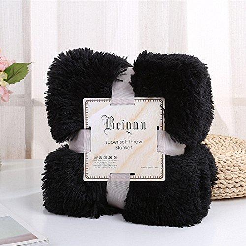 myru Plüsch Super Weiche Decke Bettwäsche Sofabezug Pelzigen Fuzzy Fur Warme Decke Quilt Gemütliche Couch Decke Für Den Winter(160 * 200cm,Schwarz)