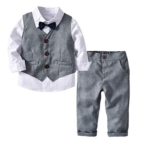 eidung Set, 24Monate -6Jahre alte 4 STÜCK Kleinkind Baby Boy Bowtie Gentleman Streifen Anzug Weste T-Shirt Hosen Formale Party Hochzeit Kleidung Sets ()