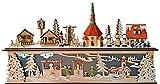 yanka-style Lichtersockel Leuchter innenbeleuchtet Weihnachtsdorf Seiffen, Unten Weihnachtsmarkt Natur/Farbig aus Holz ca. 45 x 10 x 25 cm Breit Weihnachten Advent Geschenk Dekoration (94252)