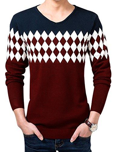 Herren V-hals-langarm Pullover Kontrastfarbe Argyle Strukturiert Pulli Marineblau