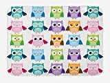 Nursery Bath Mat, Colorful Collection Friendly Owl Birds with Different Face Expressions Comic Cute, Plush Bathroom Decor Mat with Non Slip Backing, 23.6 W X 15.7 W inches, Multicolor