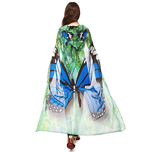 MRULIC Damen 140 * 100CM Neuheit Printed Chiffon Schmetterling Flügel Cape Schal Pfau Poncho Schal Wrap Pixie Karneval Cosplay Weihnachten Cosplay Kostüm Zusatz