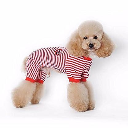 Doggie Style Store Red Striped Dog Pet Cat Pyjamas Sailor Anchor Pajamas Jumpsuit Nightwear Onesie Suit Size S 1