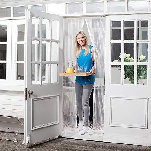 Tenda zanzariera magnetica finestra 80x200~140x220 cm per porta con calamita moschiera per porte di soggiorno camera da letto casa,white,100 * 220cm(39 * 87in)
