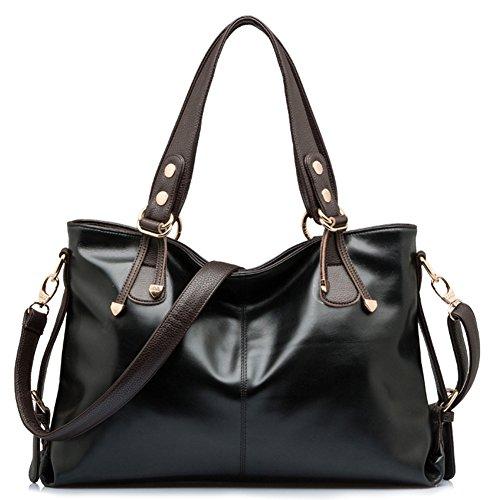 BlueVega Frauen Handtasche - Handtasche Tote Hobo Bag Retro Messenger-Taschen Frau Luxury Driven-Schwarz