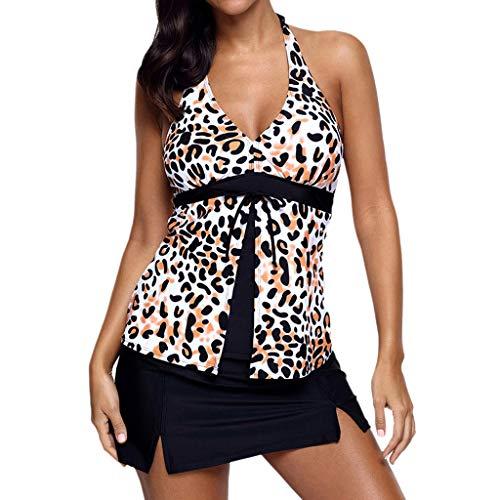 kolila Damen Plus Size Bikini Badeanzug Bademode Frauen Sexy Halter Bikini Leopardenmuster Split...