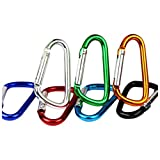 SODIAL(R) 20PCS 2.5inch /6CM Aluminum D Ring Carabiner Clip,Lightweight Durable Small Caribeaner Keychain Hook For Home,Outdoor,Camping,Hiking,Travling