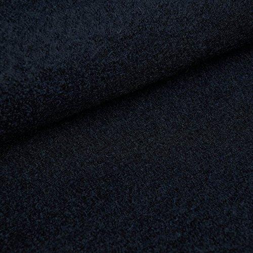 Fabian - Tela de lana de gran calidad - 100% lana virgen - Lana hervida (Por metro, Azul marino oscuro)