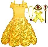 Alead Disfraz de princesa Belle vestido y accesorios, guantes, tiara, varita y collar (2-3 años)