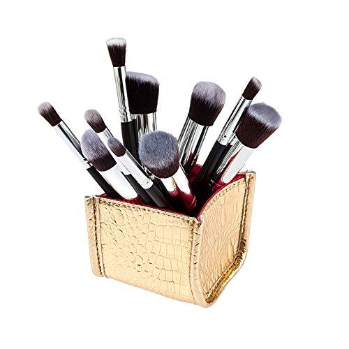 La Cabina Set de Pinceaux Maquillages Professionnels à 10 Pièces, Kit de Pinceaux Cosmétiques avec Porte-Brosse Or, Noir et Argent