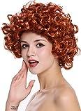 WIG ME UP ® - 91074-ZA131 Parrucca Donna Carnevale Lunghezza media Ricci fitti Riccia Rosso Anni 80