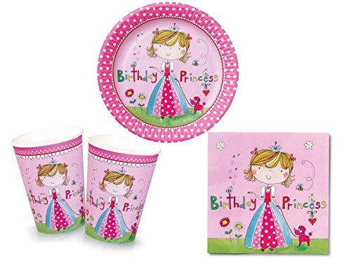 Tischdeko Kleine Prinzessin für 8 Mädchen (Teller, Becher & Servietten)