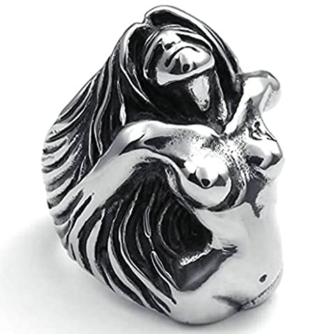 AMDXD Bijoux Acier Inoxydable Bague de Mariage pour Hommes Argent Noir Déesse Ange Forme 35MM,Taille 61.5