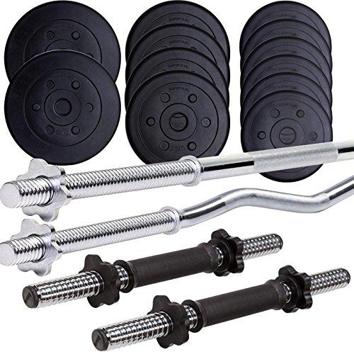 ScSPORTS® 45 kg Kunststoff Hantelset mit 1x Langhantel-Stange, 1x SZ Curlstange und 2x Kurzhanteln mit Gewinde, Kombiset inkl. 12 Hantelscheiben Gewichte