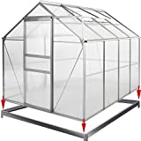 Deuba® Aluminium Gewächshaus 7,6m³ mit Fundament Treibhaus Gartenhaus Frühbeet Pflanzenhaus Aufzucht 250x195cm | Modellauswahl | Verschiedene Größen | mit Fundament