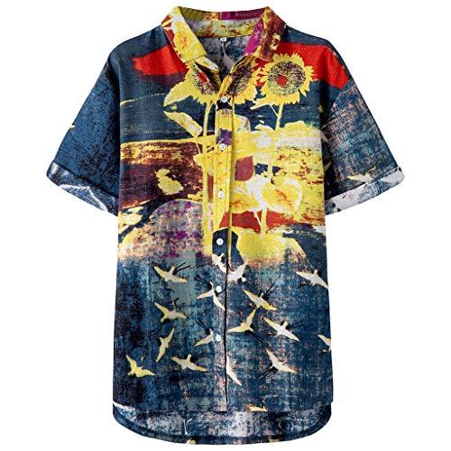 Hawaiihemd   Herren   Kurzarm   Front-Tasche   Hawaii-Print   Bierflaschen Party Meer für Strand Freizeit -