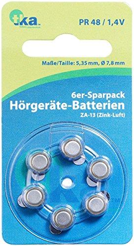 tka Köbele Akkutechnik Hörgerätebatterie: Hörgeräte-Batterien ZA-13 (PR48) Zink-Luft 1,4 V, 6er-Sparpack (Hörgerätbatterien)