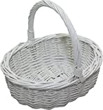 Childs Willow Wicker Oval Shopping Basket - White Painted