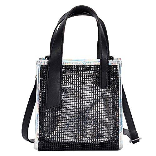YULAND Handtasche Damen Klein Transparente Tasche Rucksack Damen Ledertasche Kleine Frauen Umhängetasche Klar Skelett Tote Schulter Umhängetasche Mädchen Tasche Handtaschen (Silber)