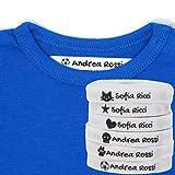 Haberdashery Online 100 Etichette Personalizzate in Ferro su Tessuto per contrassegnare i Vostri Vestiti con Varie Icone. Tela Bianca. Delicato sulla Pelle dei Vostri Bambini. (Bianco)