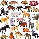Pack de 25 Figurines Animaux Sauvages réalistes en plastique vinyl (10 cm). Lot de jouets d'apprentissage jungle et animaux de la forêt par ValeforToy pour garçons, filles, enfants et bambins.