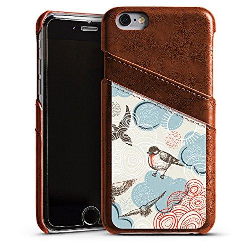 Apple iPhone 5s Housse étui coque protection Oiseau Motif Motif Étui en cuir marron