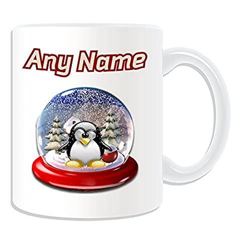 Personalised Gift - Snow Globe Mug (Penguin in Costume Design