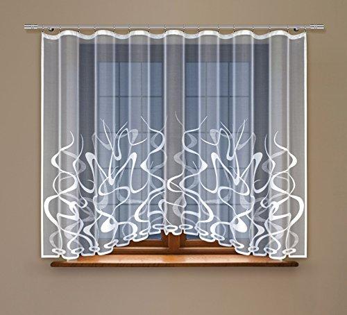 HAFT® Gardine; Store; Vorhang transparent, elegant weiß, Kräuselband (160 x 300 cm)