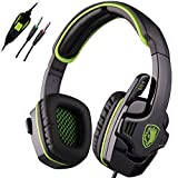 Sades SA-708 3.5 mm PC Gaming Headset Gaming de Auriculares con Micršfono para Video Juego(Verde)