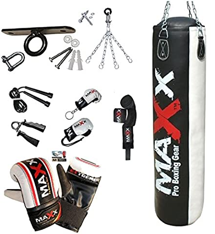 Maxx Blk/White Punchbag set with Wall Bracket or Ceiling Hook