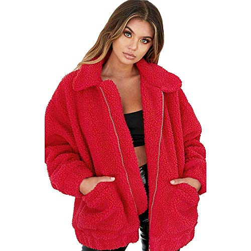 VEMOW Winter Herbst Elegante Damen Frauen Warme Faux Pelzmantel Jacke Farbverlauf Casual Täglichen Party Parka Oberbekleidung(Y1-Rot, EU-40/CN-XL)