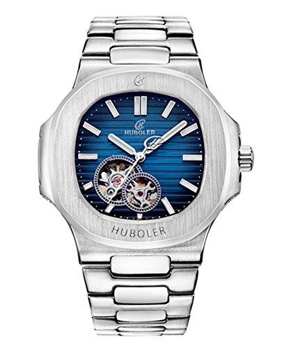 Tourbillon-Armbanduhr für Herren von Huboler, automatisches mechanisches Uhrwerk, aus Edelstahl, schwarzes Zifferblatt, 39mm