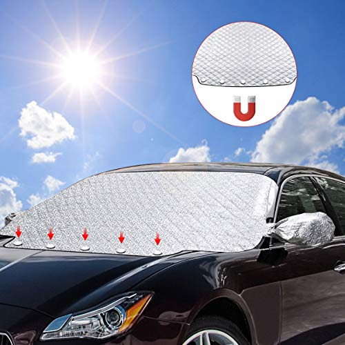 SanGlory Frontscheibenabdeckung Auto Windschutzscheiben Abdeckung Magnet Scheibenabdeckung Faltbare Autoabdeckung Winter Scheibe Abdeckung gegen UV-Strahlung Schnee EIS Frost und Sonne (Kleber Für Die Windschutzscheibe)