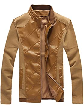 Zhhlaixing Moda Mens Long Sleeve Jackets Zipped Outerwear PU Leather Coats
