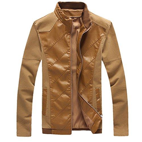 Zhhlaixing Mode Mens Long Sleeve Jackets Zipped Outerwear PU Leather Coats Kaki