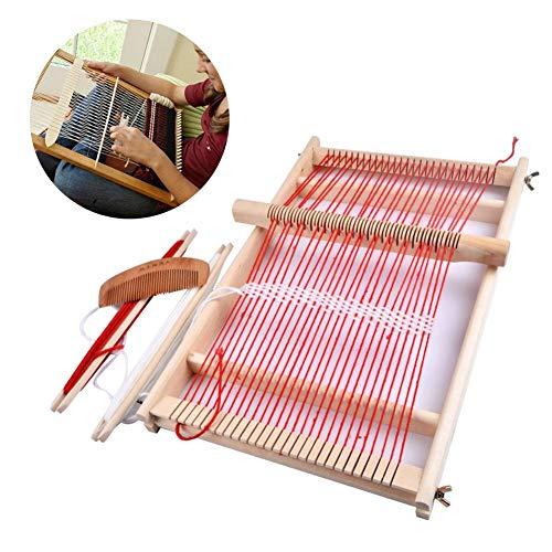 soundwinds Hölzerne Strickmaschinen Multi-Craft Webstuhl DIY Weave Set Lap Loom mit Comb Shuttle Bobbin und Stick Weaving Frame für Anfänger - Lap-set
