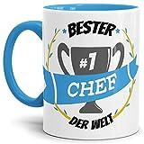 Tassendruck Kaffee-Tasse Chef Innen & Henkel Hellblau/Lustig / Fun/Mug / Cup/Geschenk Qualität - 25 Jahre Erfahrung