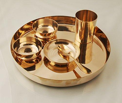 Mayur Exports Kansi/Bronze Kansya Utensil| 6 Piece Dinner Thali Set|1 Dinner Plate 2 Bowl 1 Rice Plate 1 Glass & 1 Spoon|Home, Hotel Restaurant