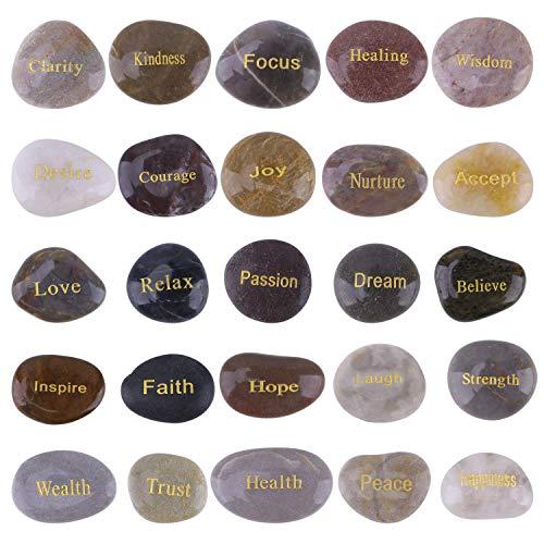 Cyanbambus inspirierende Geschenksteine mit Gravur Natural Rocks for Prayer Faith Meditation (25 Verschiedene Wörter, 3,8-7,6 cm) - Sorry Rocks Zen Stones mit Spruch Positive Motivation