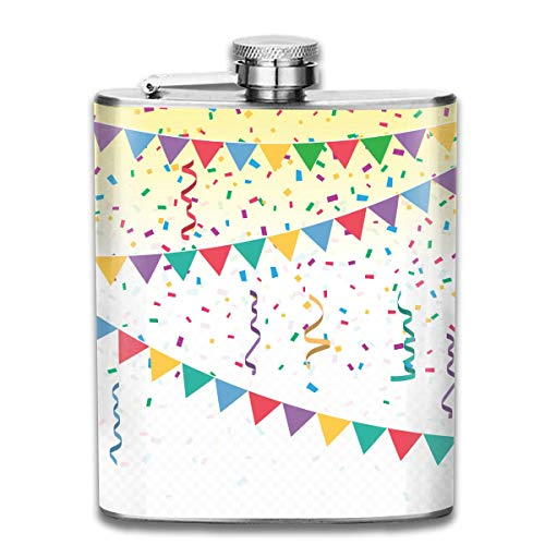 Miedhki Bright Colorful Confetti Flag Fashion Portable 304 Stainless Steel Leak-Proof Alcohol Whiskey Liquor Wine 7OZ Pot Hip Flask Travel Camping Flagon for Man Woman Flask Great Little Gift