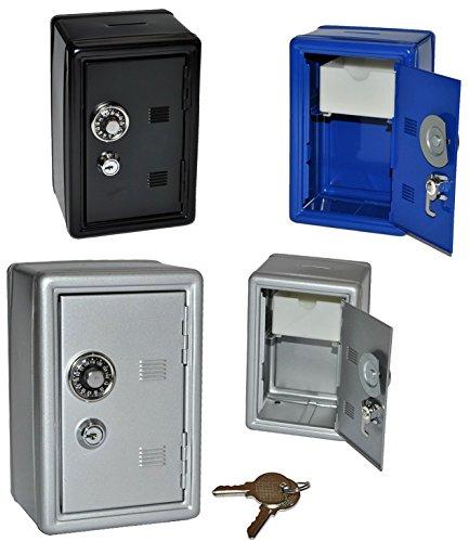 Unbekannt Spardose Tresor Schrank blau / schwarz / grau - mit Schlüssel - stabile Sparbüchse für die Reisekasse aus Metall - Safe Tresorschrank Geld Sparschwein -
